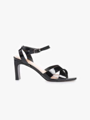 Dámské lakované sandály na vysokém podpatku