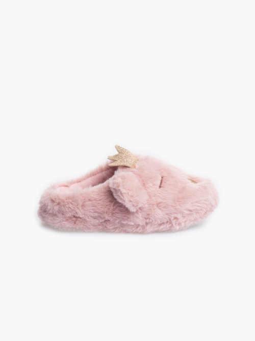 Dívčí růžové hřejivé papuče