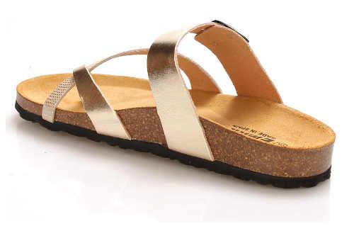 Korkové pantofle se zlatými pásky