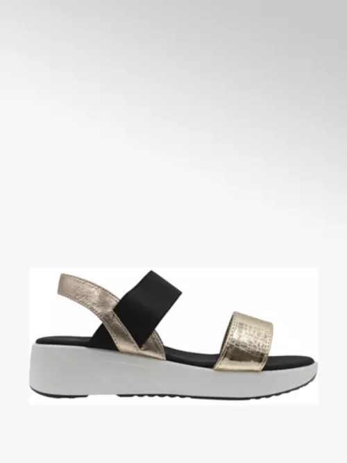 Moderní sandály na klínku v černo-zlaté kombinaci