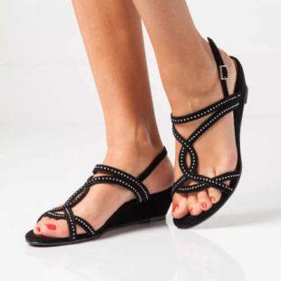Sandály na klínku s flitry ve 3 barvách