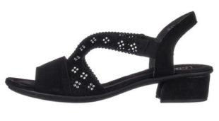 Černé dámské sandály RIEKER zdobené kamínky