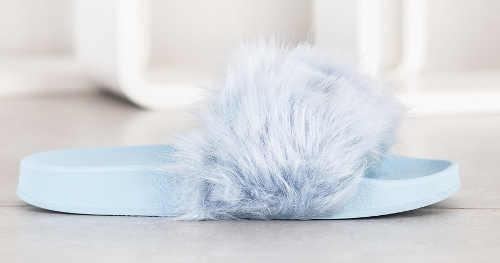 Dámské gumové pantofle s kožešinou