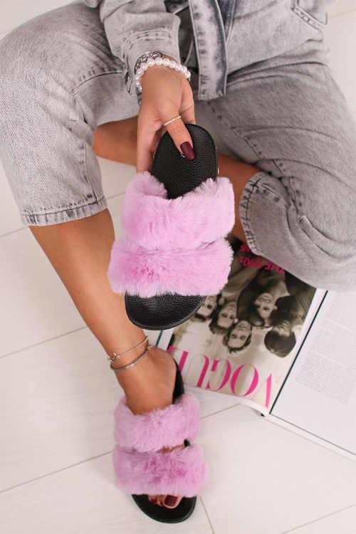 pantofle s gumovou podrážkou a růžovou kožešinou