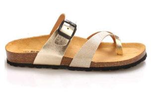 Zlaté dámské kožené zdravotní pantofle EMMA Shoes