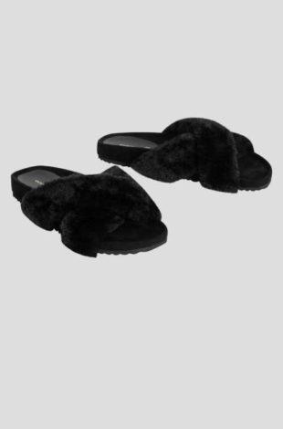 Dámské černé pantofle s umělou kožešinou