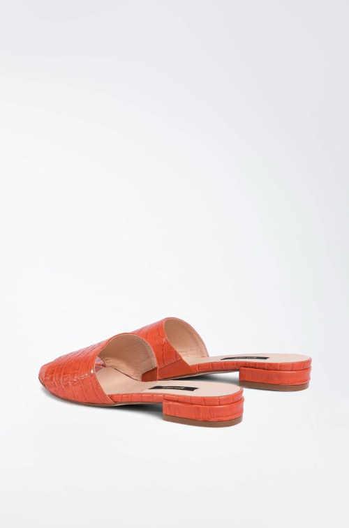 dámské kožené oranžové pantofle