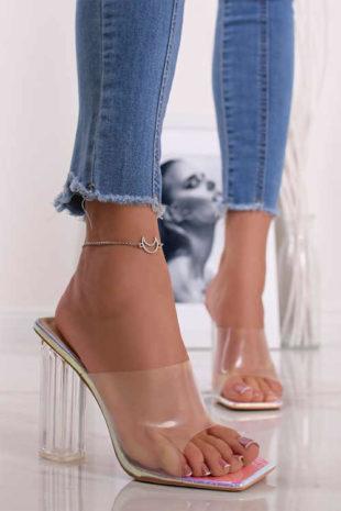 Stříbrno-transparentní pantofle na podpatku