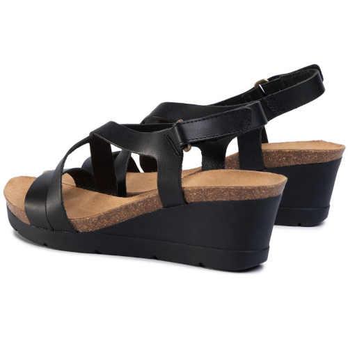 černé kožené páskové sandály
