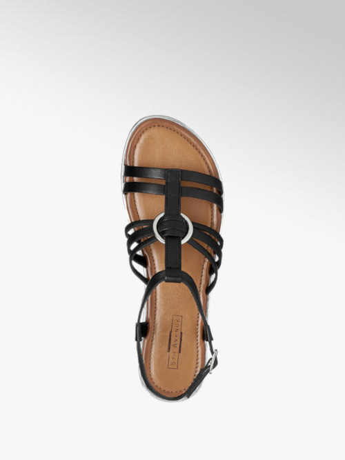 černé sandálky bez podpatku