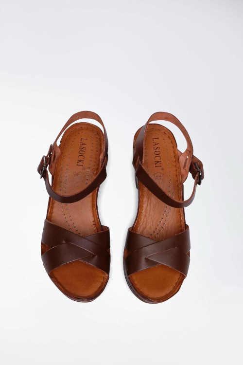 hnědé dámské kožené sandály