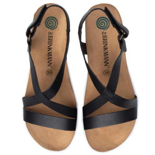 páskové kožené sandály černé