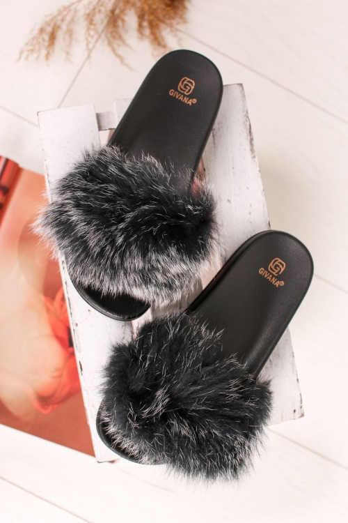 šedé kožešinové dámské pantofle