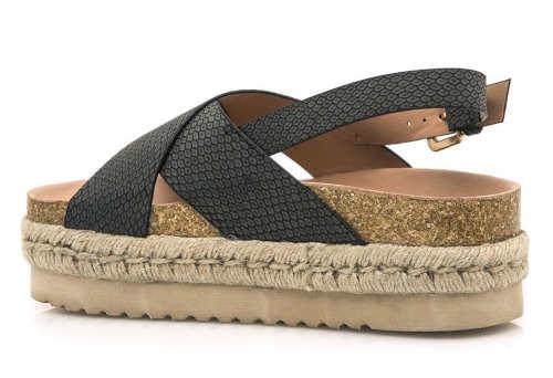 Vysoké korkové sandály s černými pásky