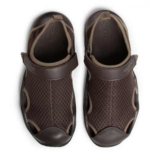 hnědé pánské sandály s plnou patou