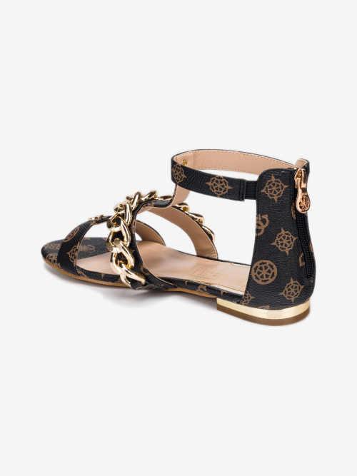 hnědo-černé dámské sandály
