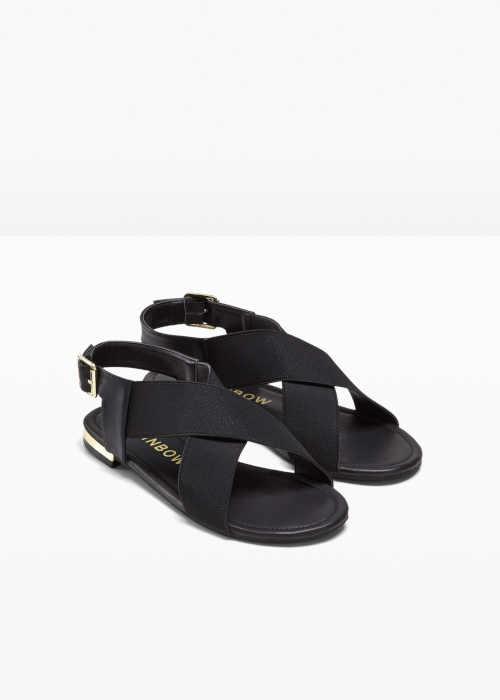 černé dámské nízké sandály