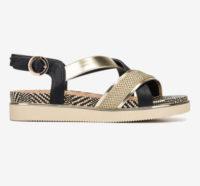 Černo-zlaté sandály na nízkém klínku