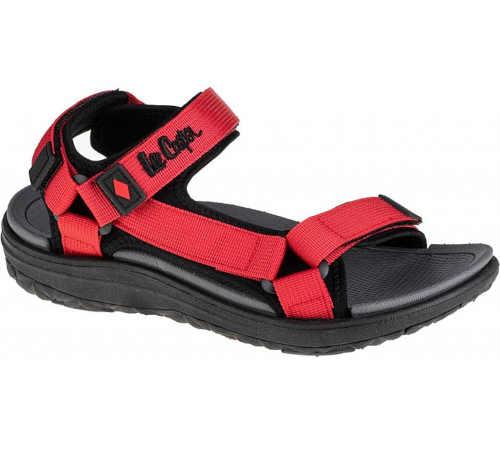 červeno-černé letní sandály