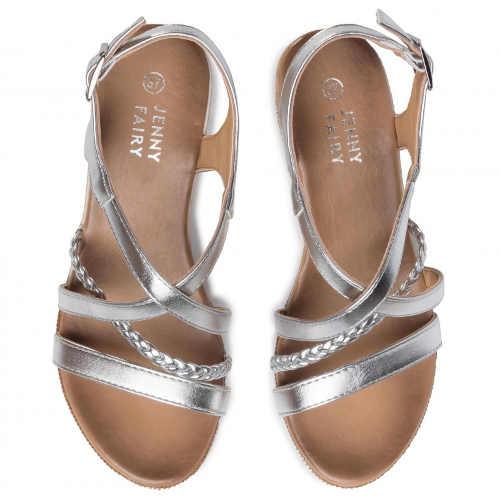 stříbrné sandály na klínu